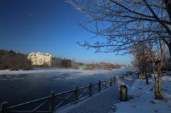 冬季长白山小镇冰雪